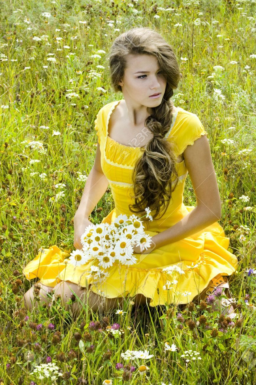 Portrait of beautiful girl in green field dnyadan nsan portrait of beautiful girl in green field stock photo picture and royalty free image pic 7525763 izmirmasajfo