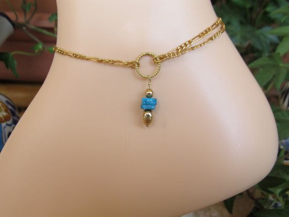 ANKLET Gold Filled and Genuine Turquoise Ankle by FayWestDesigns, $19.00