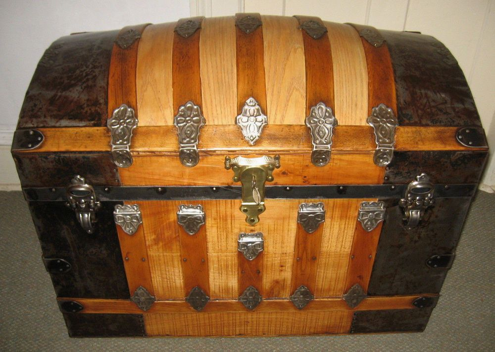 Antique Steamer Trunk Vintage Victorian Dome Top Bridal Style Wood