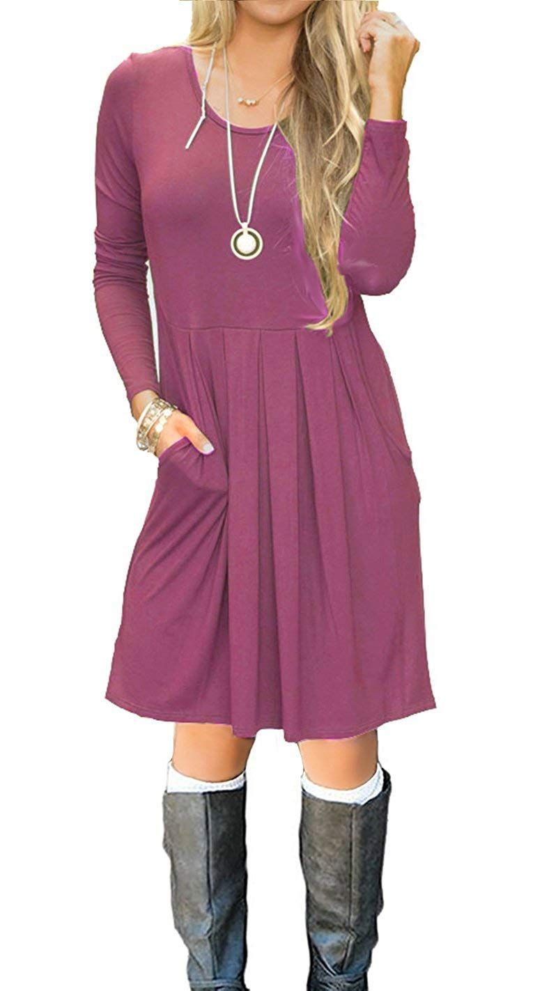 Icrazy womenus casual pleated loose swing tshirt dress with