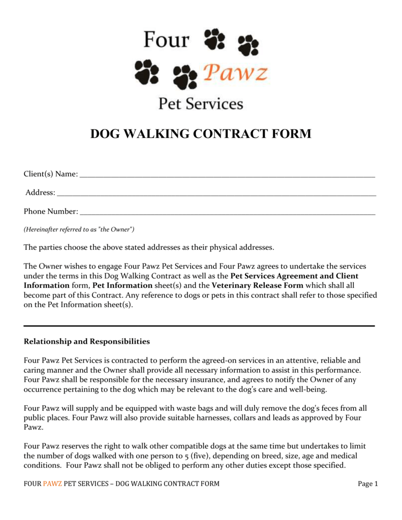 Walking Form Images Cv Letter And Format Pet Sitting Business Pet Sitting Contract Dog Walking