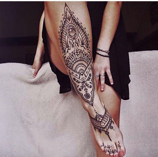 Henna style leg tattoo blackwork tattooedgirl for Where can i get a henna tattoo near me