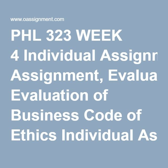 code of ethics assignment