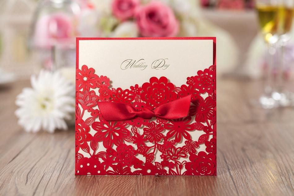 Buy Wedding Invitation Cards Online: Cheap Elegant Pearl Wedding Invitation Red Elegant