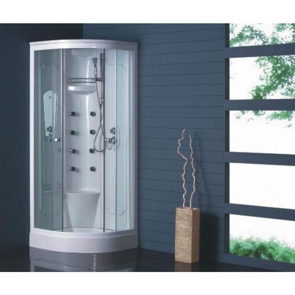 Dreamwerks Corner 31.5 in. D x 31.5 in. W x 84.7 in. H Shower Kit in ...