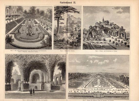 1894 Antique Landscape Gardens Print Gardening Garden Art Etsy Antique Landscapes European Garden Garden Print
