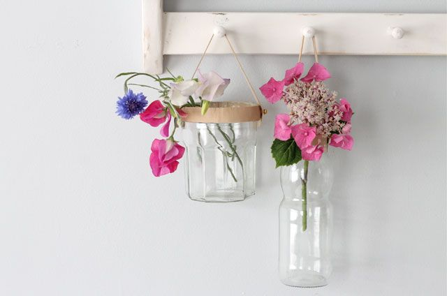 Diy Leather Trimmed Hanging Vase Diy S Pinterest Diy Things