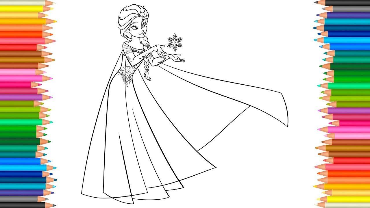 Princess Elsa Coloring Pages Disney Frozen Coloring Book For Children Le