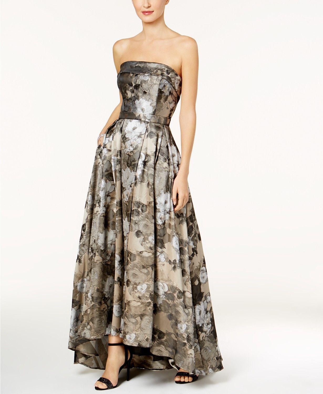 Xscape strapless brocade ballgown macys prom in