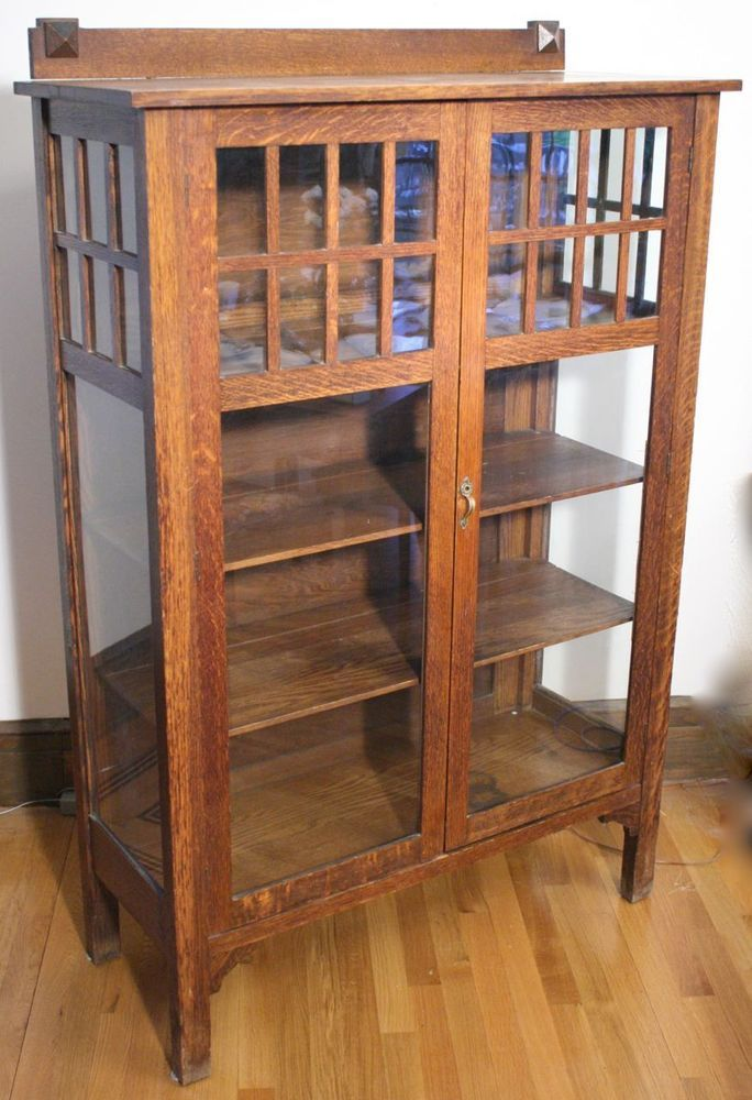 Antique Larkin Arts And Crafts Mission China Cabinet Tall Solid Oak Bookcase Home Amp Garden Furn Solid Oak Bookcase Oak Bookcase Craftsman Dining Tables