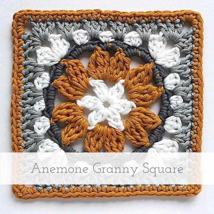Anemone Granny Square | Free pattern + tutorial | Crochet ...