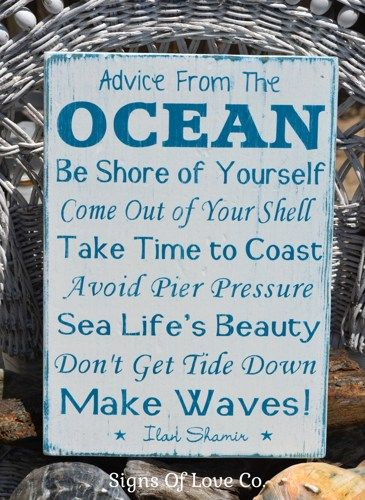 advice from the ocean sign beach weathered wood signs tropical coastal house home nautical wall art - Ocean Decor