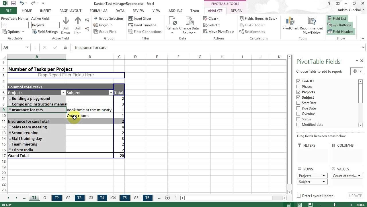 kanban task manager single excel reports with the