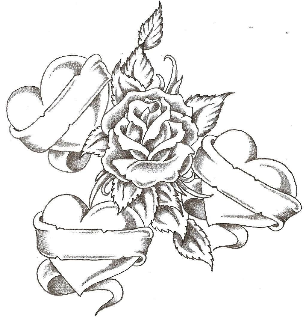 adult Coloring Pages For Adults Roses And Hearts Coloring