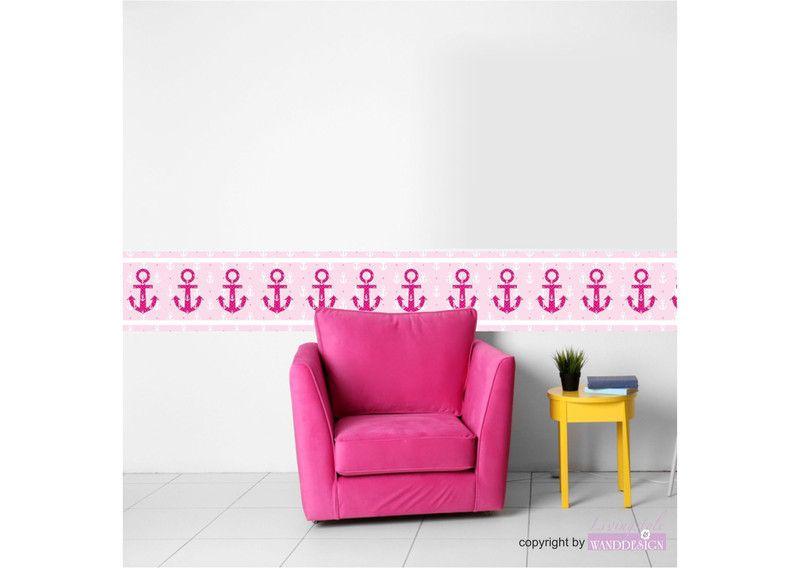 Vlies Bordure Selbstklebend Maritim Anker Pink Haus Deko Pink Vlies