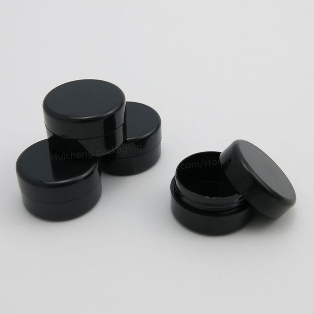 4675541a95b6 100 x 5G Travel Full Black Empty Plastic Cosmetic Jar Small Sample ...