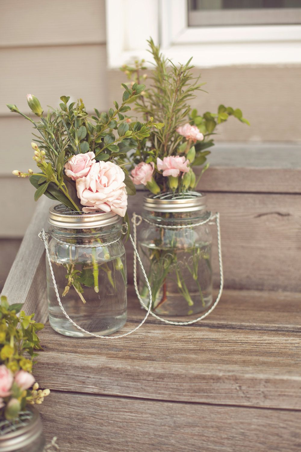 Love These Rustic And Simple Mason Jar Centerpieces Etsy My