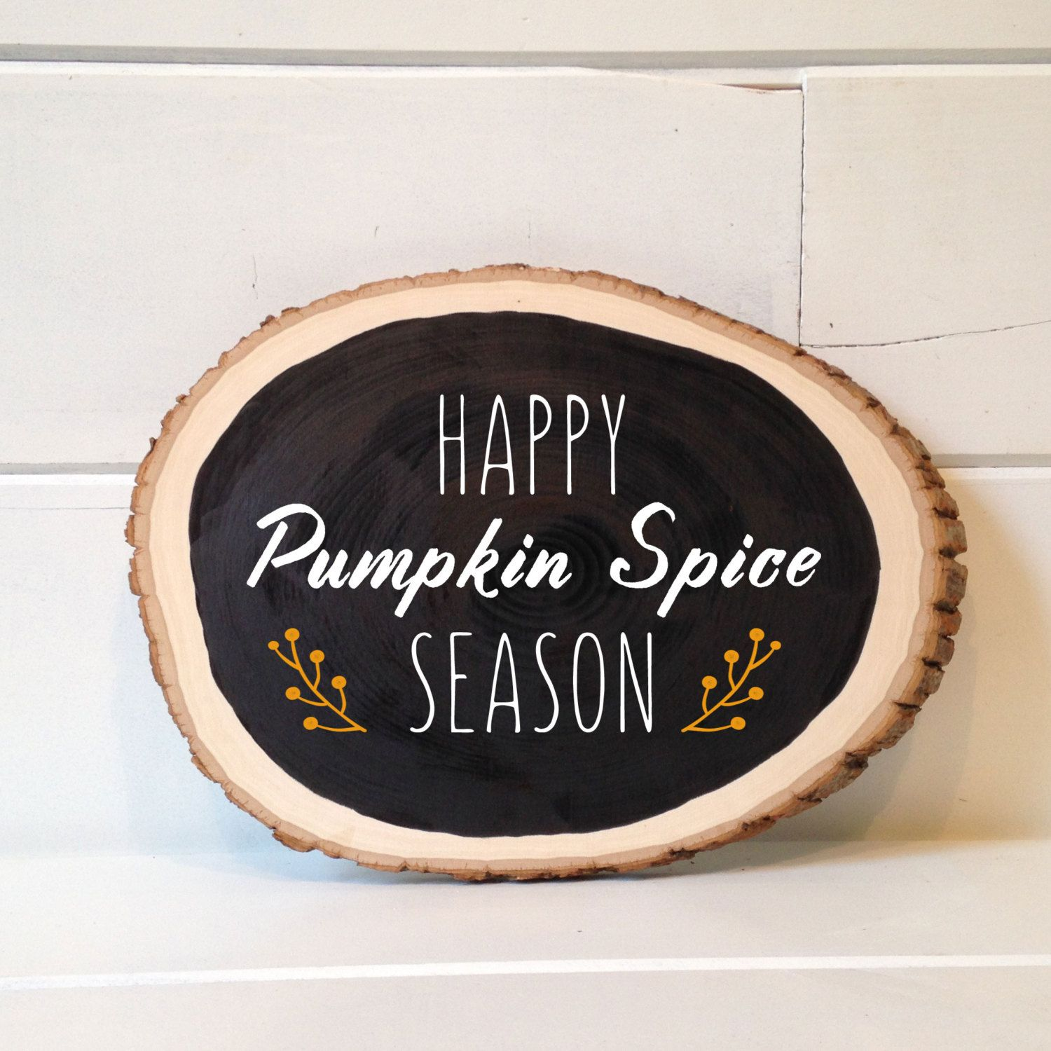 Small pumpkin spice season hand lettered chalkboard woodslice art