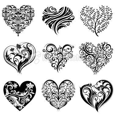 Set Of 9 Tattoo Hearts Vector Image Tattoo Hearts