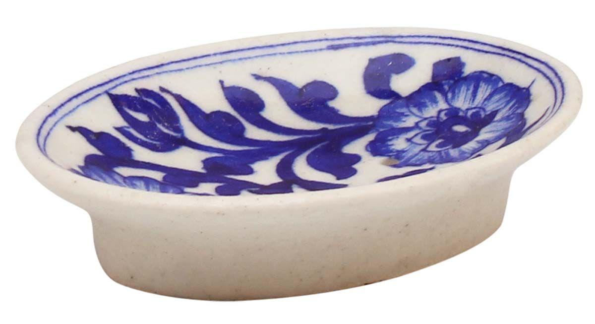 Wholesale Ceramic Soap Dish Royal Blue White 5 Inch Ceramic Soap Dish Blue Bathroom Accessories White Ceramics