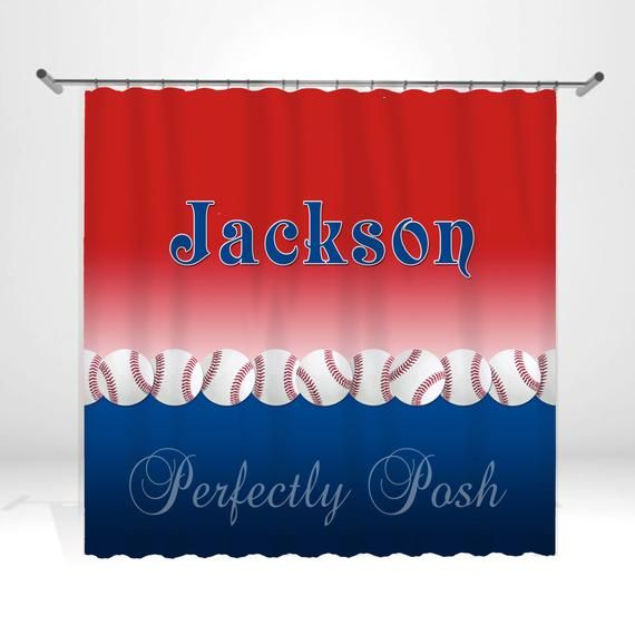 Baseball Personalized Custom Shower Curtain Monogram With Name Or