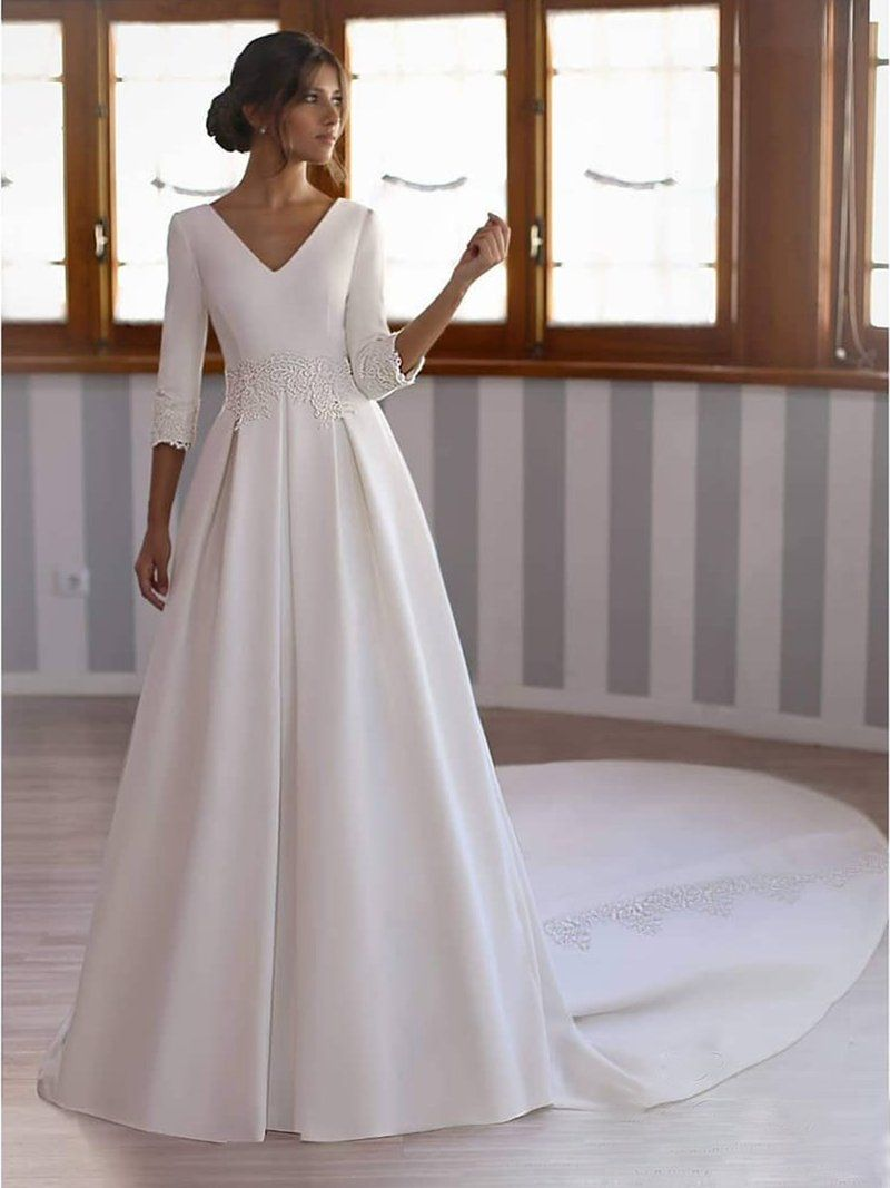VNeck Long Sleeves FloorLength Ball Gown Church Wedding Dress is part of Church wedding dress - Outdoor,Hall Season Spring,Fall,Winter @@735416