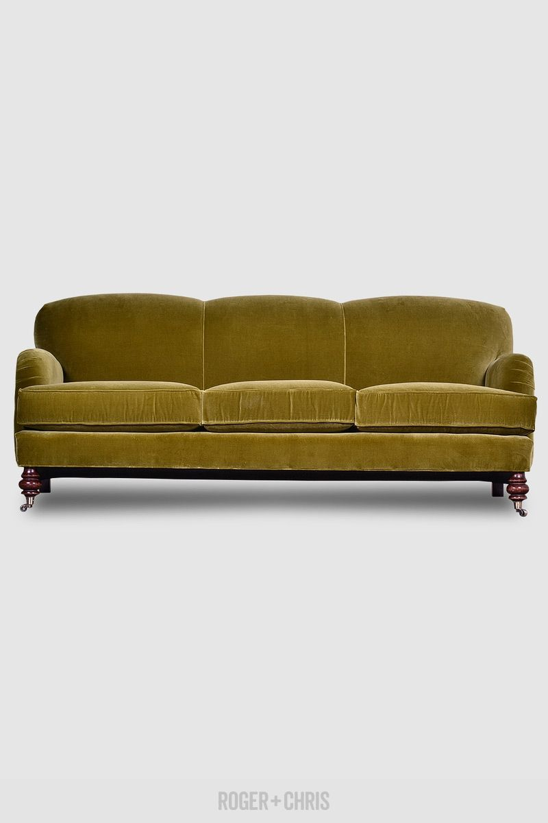 English Roll Arm Sofa In Vintage Velvet Custom Made In The U S A