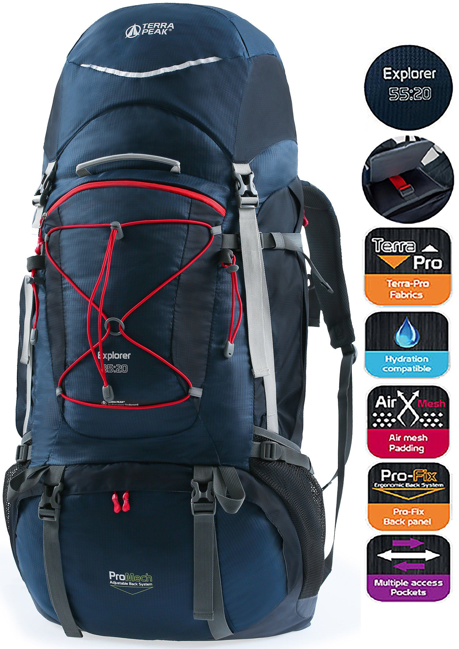 b238cf84ab7 TERRA PEAK Adjustable Hiking Backpack 55L+20L for Men Women With Free Rain  Cover Included