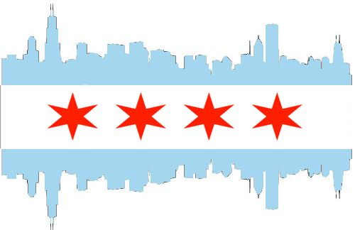 Chicago Flag Made From Skyline Chicago Artists Chicago Flag Chicago Art