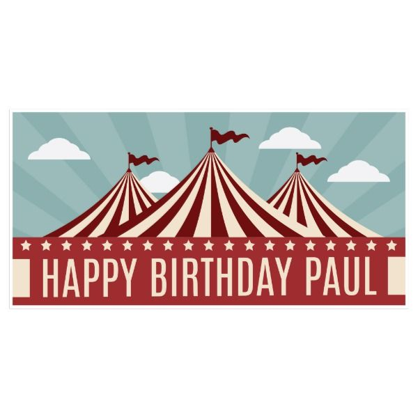 Red Circus Tent Birthday Banner Party Decor