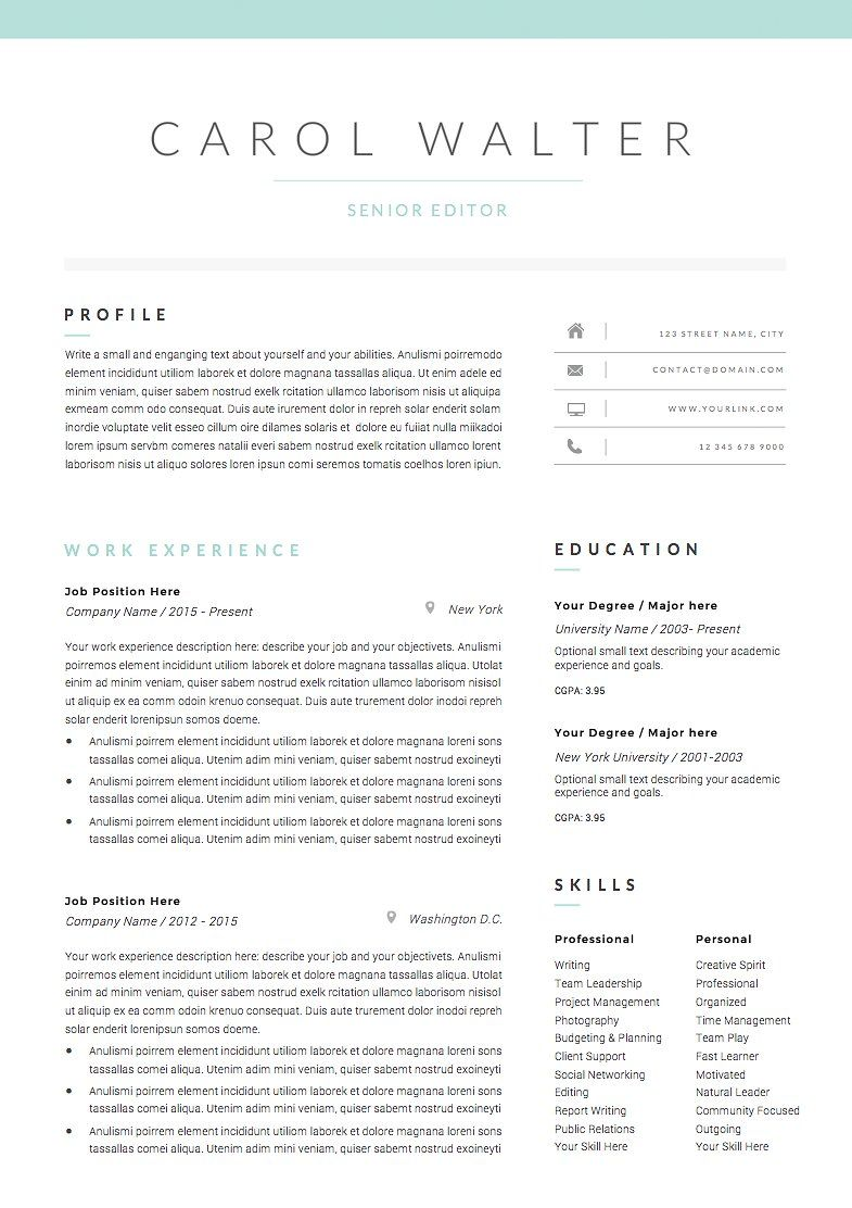 5 Page Resume Template Upgrade Resume Template Resume Cover Letter