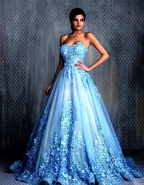 Light Blue Long Ball Gown Wedding Dresses, Sweetheart Wedding Dresses, Appliques And Embroidery Wed