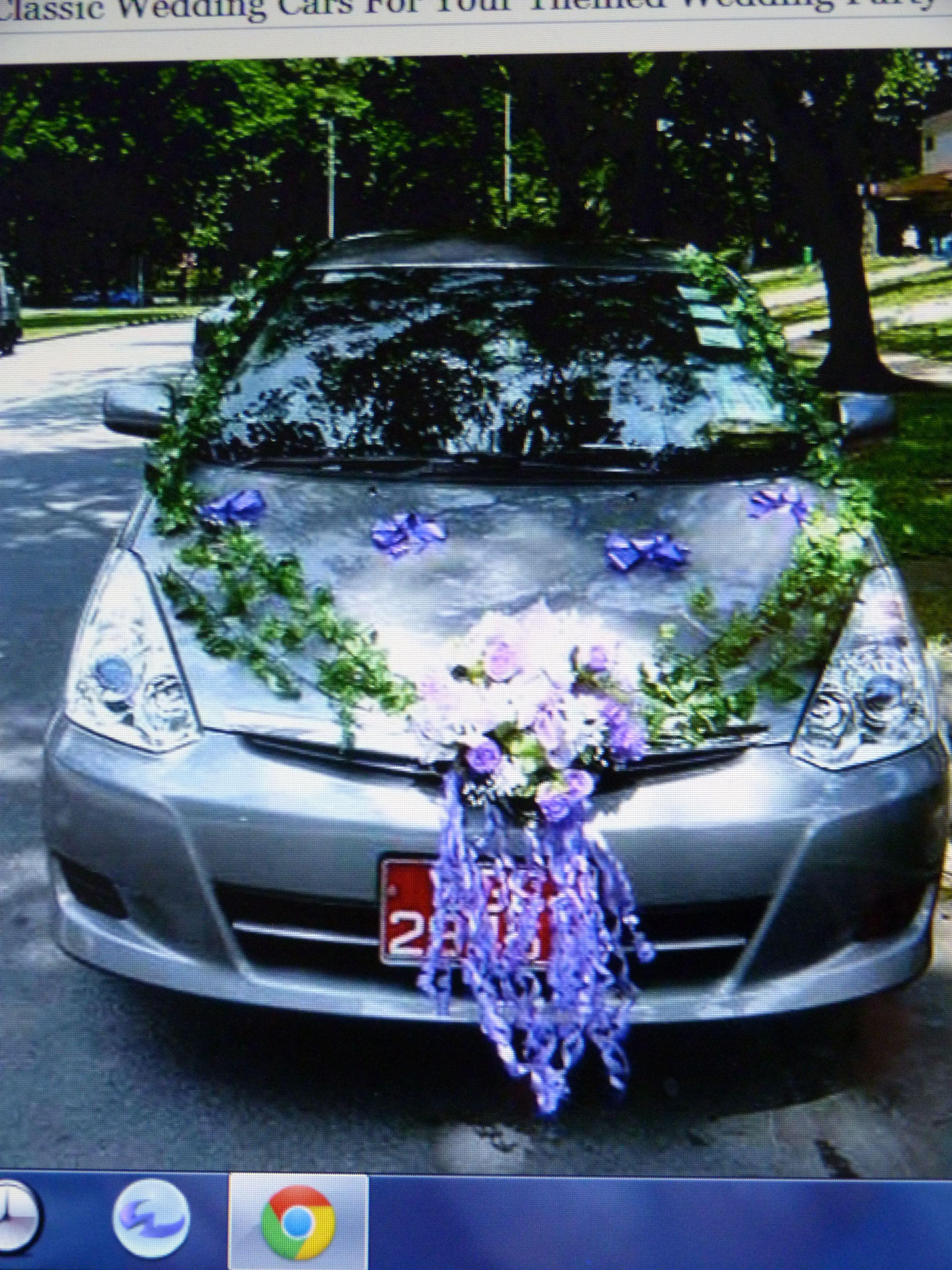 Wedding Car Decorations Add Teddy Bears Dressed As Bride Groom