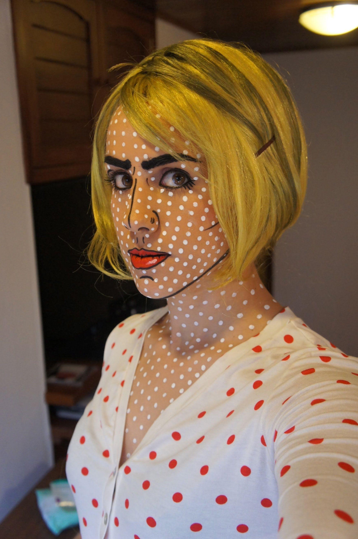Roy Lichtenstein Halloween Costume.Pop Art Costume Makeup Roy Lichtenstein Youtube