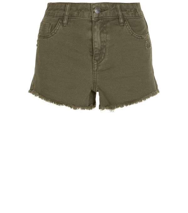 Khaki Fray Hem Denim Shorts | New Look | Vêtements ♥ | Pinterest ...