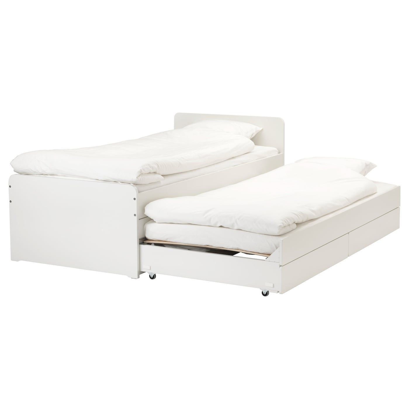 Slakt Bed Frame W Pull Out Bed Storage White Twin Bed Frame