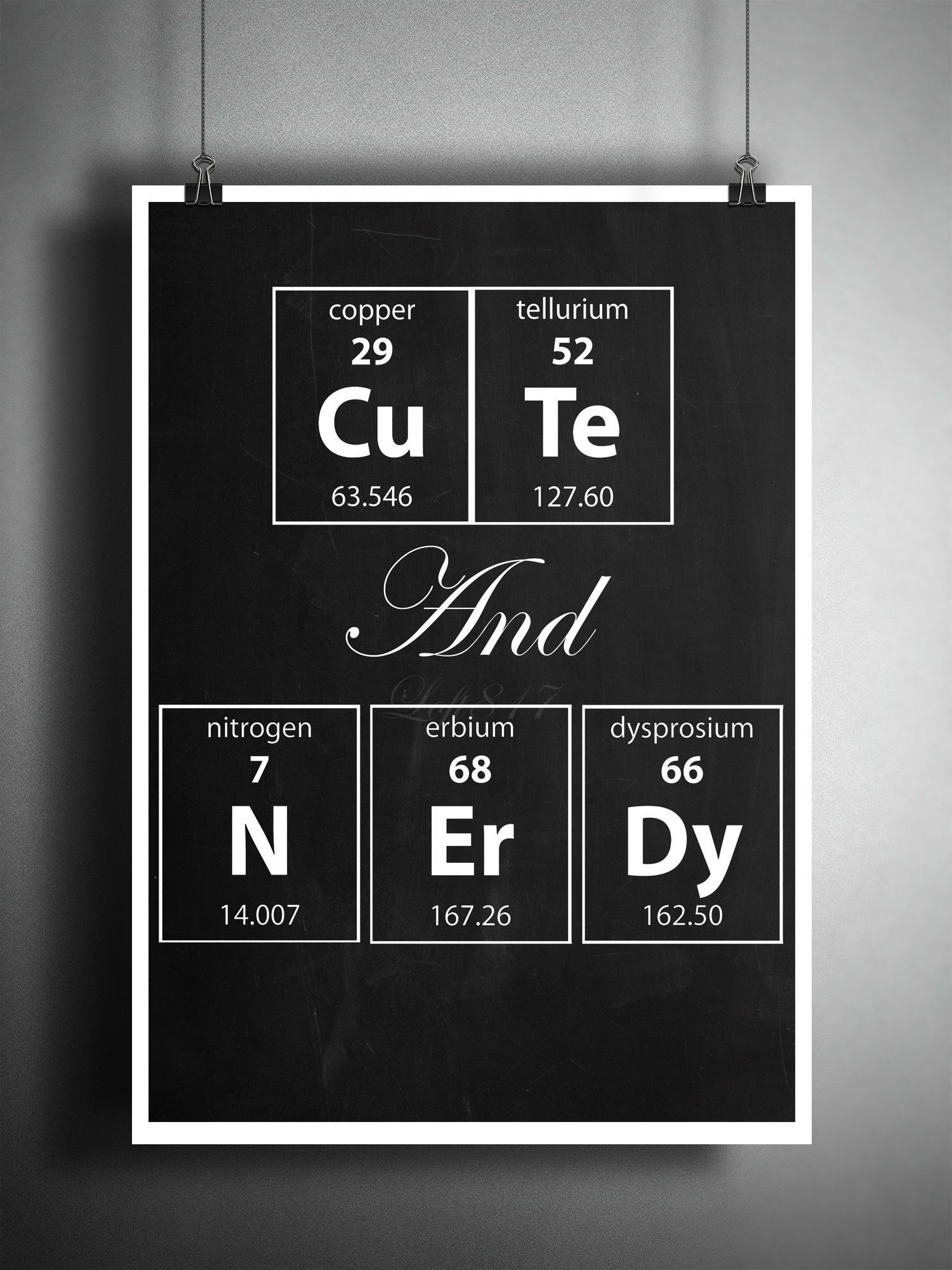 Cute and nerdy periodic table art print nerdy art gift for her cute and nerdy periodic table art print nerdy art gift for her geeky wall art quote gamestrikefo Choice Image