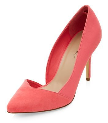 a8e92903157f Coral Cut Out Side Pointed Heels