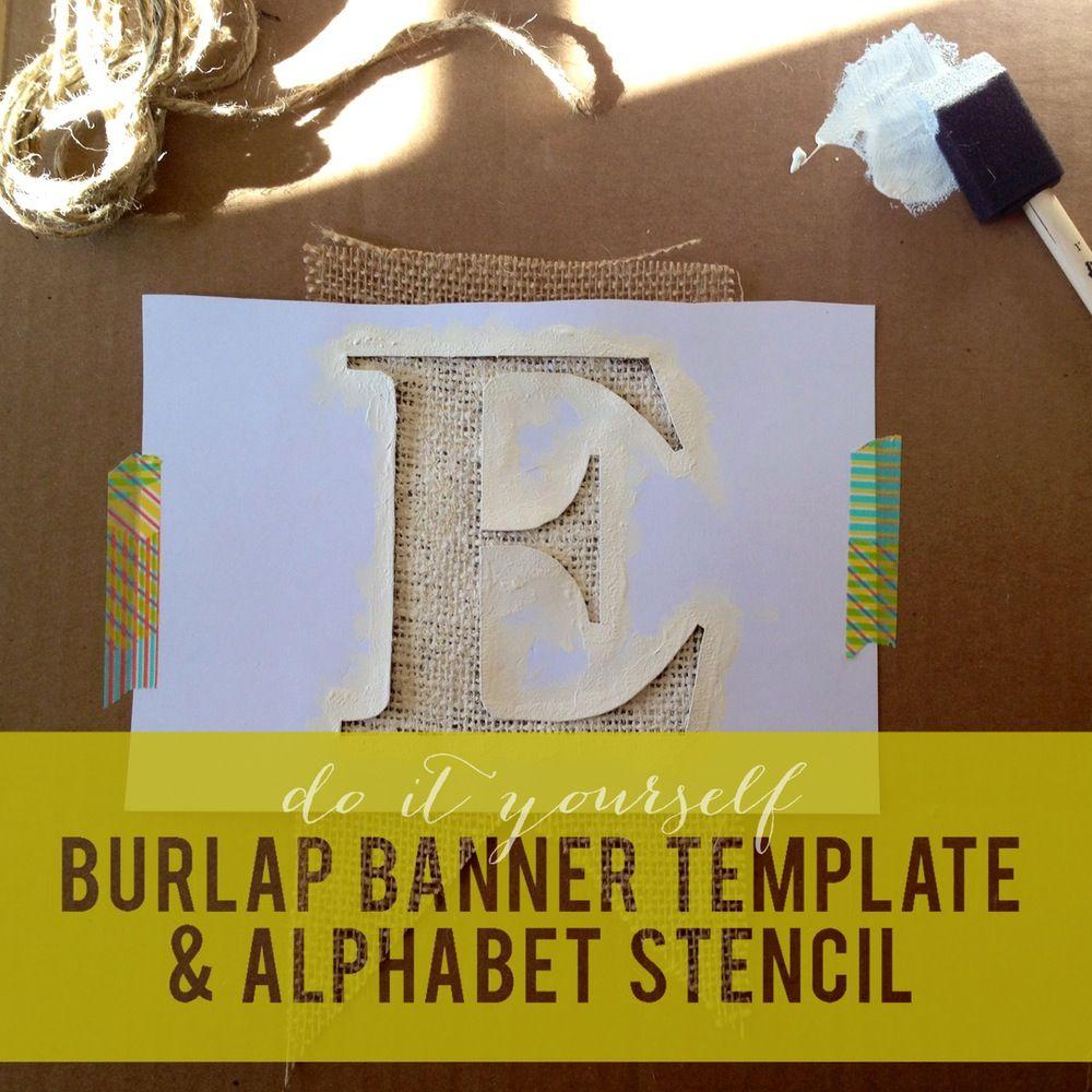Image of Burlap Banner Template & Alphabet Stencil