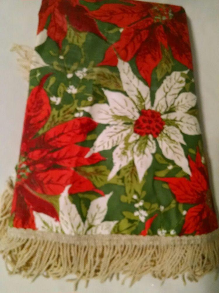 Vintage Poinsettia Christmas Tablecloth Vinyl Fringe Mcm Round 54x54 Christmas Table Cloth Round Christmas Tablecloth Vinyl Tablecloth