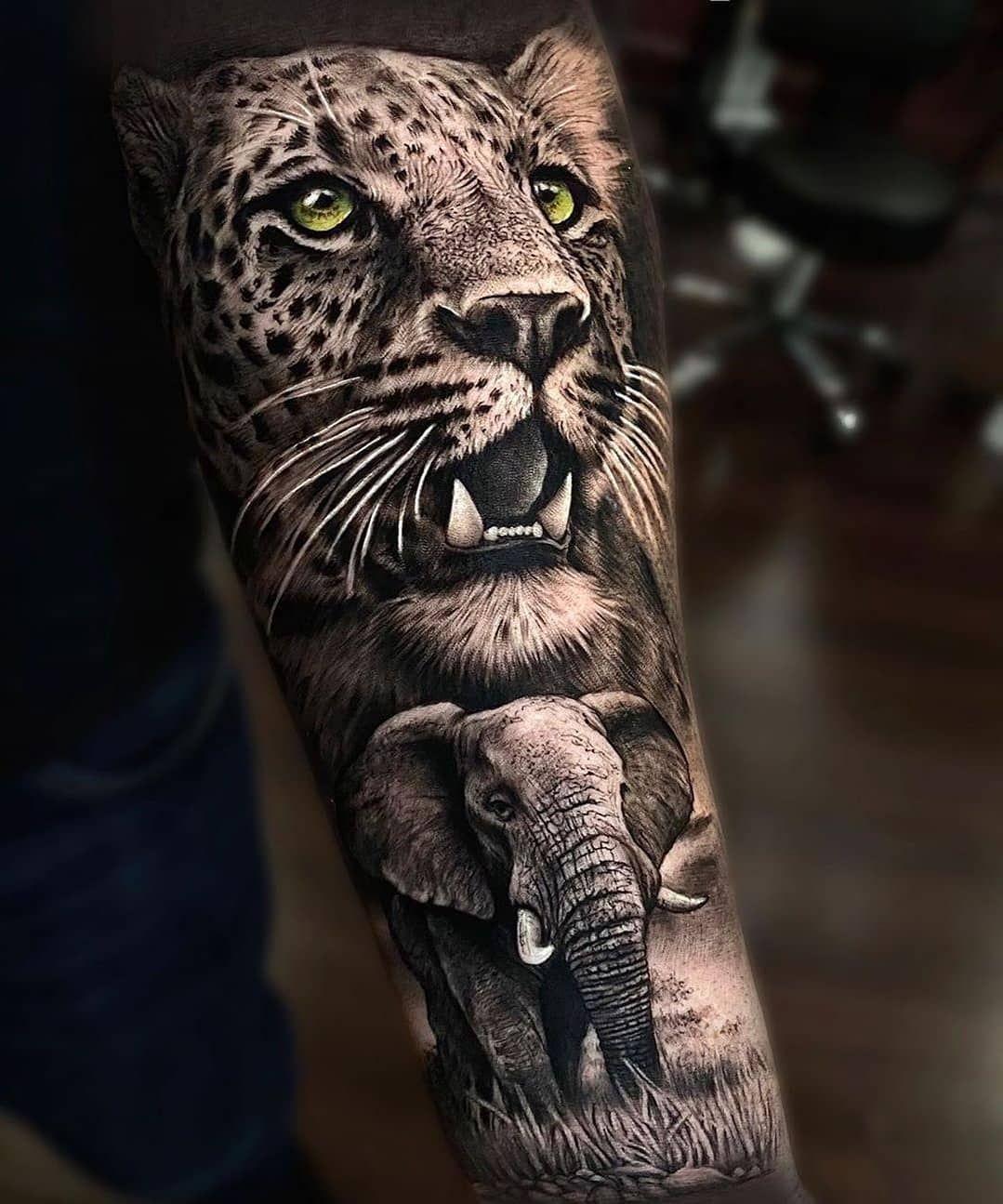 Tattoo Time On Instagram Artist Sergiofernandezmillan Animal Sleeve Tattoo Leopard Tattoos Animal Tattoos For Men