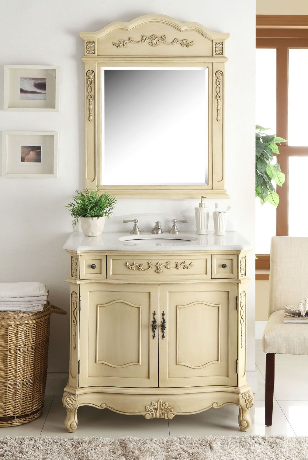 Website Photo Gallery Examples Classsic Style Pastel Beige Fairmont Bathroom Sink Vanity u Mirror Set u Dimensions x x This creamy beige finish Fairmont Bathroom Vanity has a