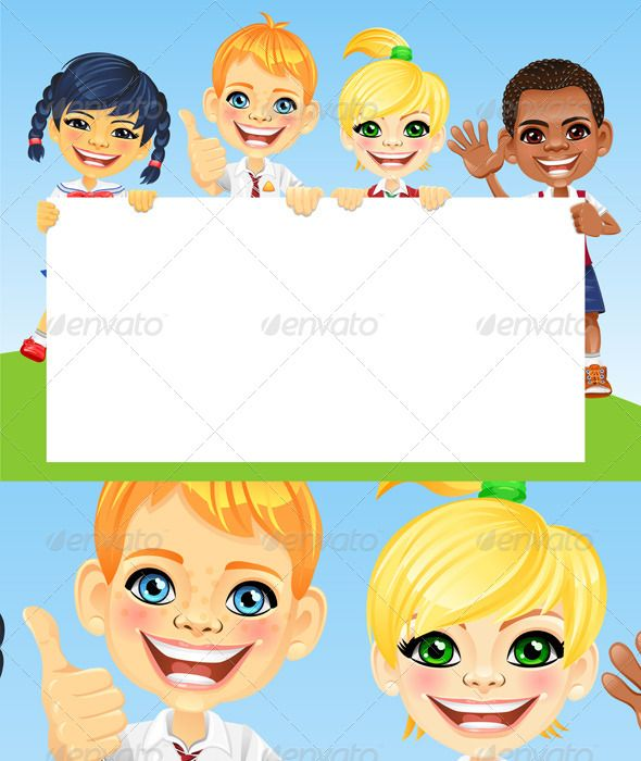 Cartoon Character Border Design : Vector happy smile kids and banner