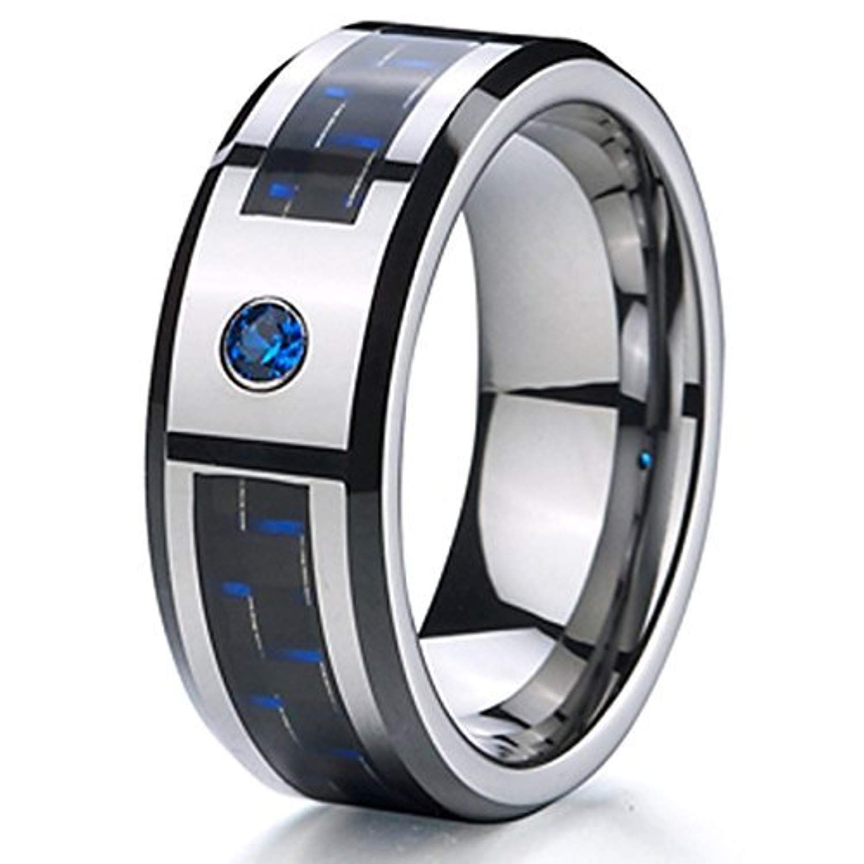 8mm blue cubic zirconia cz black and blue carbon fiber