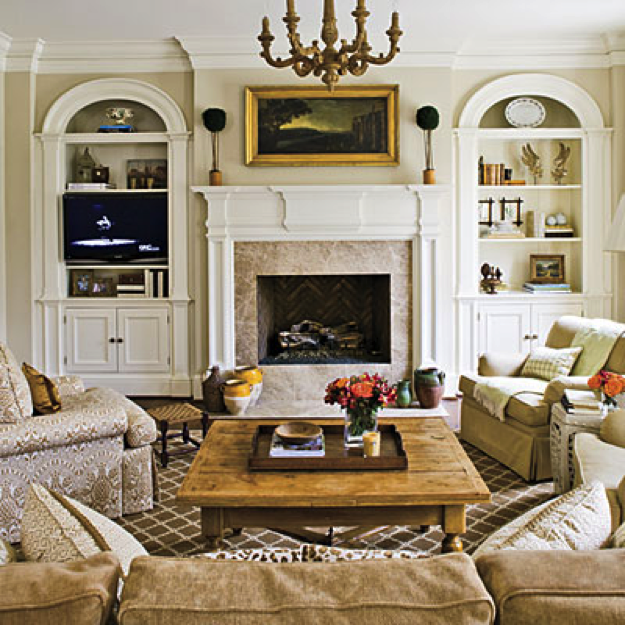 Traditional Family Room Fireplace U003c Stylish, Traditional Yet Family Friendly  Decorating   Southern Living Mobile