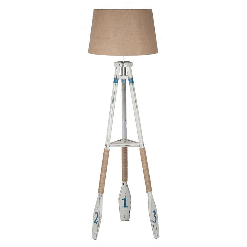 Wood Floor Lamp Tapered Leg, Floor Standing Lamp Nautical Oar Tripod A fun but stylish