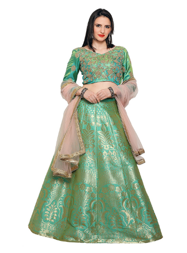 This Is A Gorgeous Pista Green Color Designer Lehenga Choli And The Material Fantastic Quality