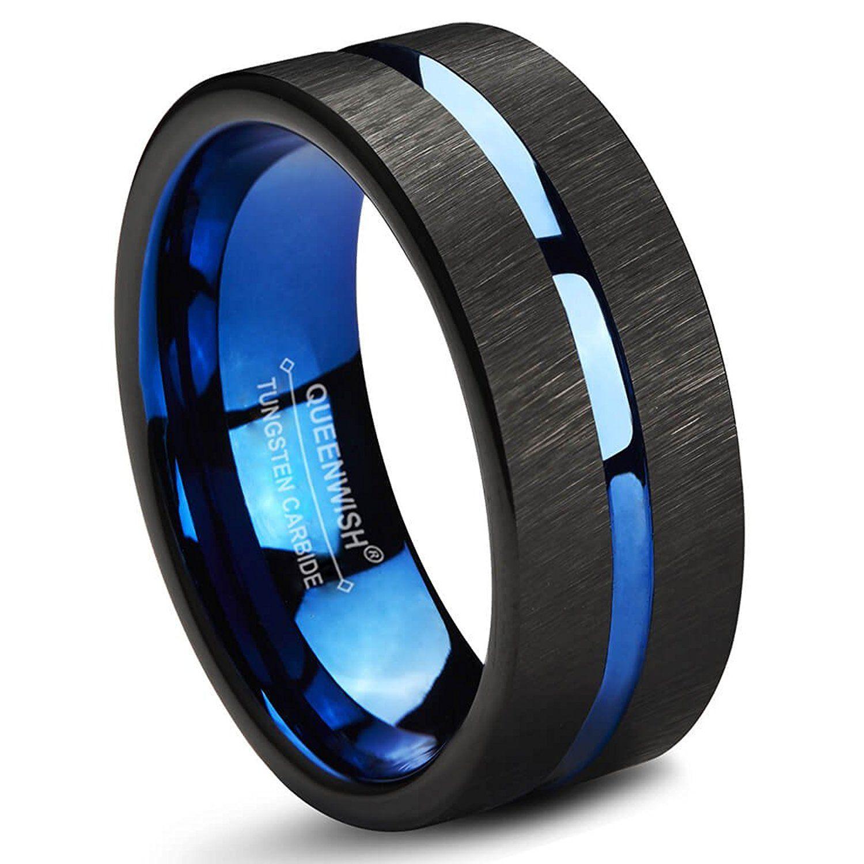 Blue Black Line Brushed Tungsten Carbide Wedding Band 8mm