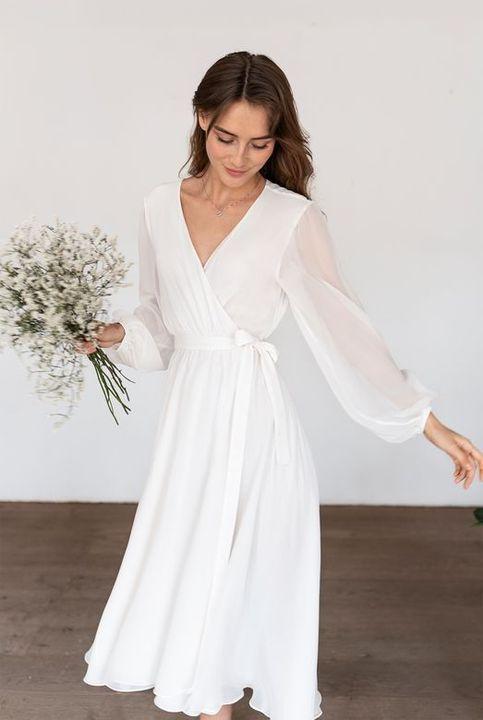 Boho A Line Beach Wedding Dresses V Neck Chiffon B