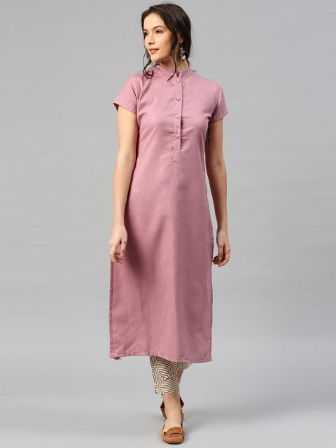 Buy Libas Women Mauve Solid Straight Kurta -  - Apparel for Women from Libas at Rs. 494